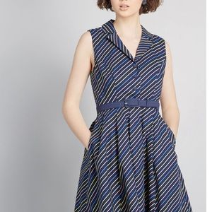 MODCLOTH belted navy A-line dress with neon strips